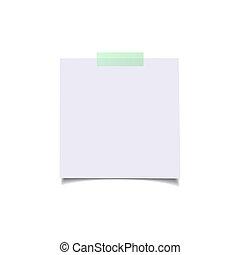 sticker., elements., isolé, papier, réaliste, vecteur, vert, feuilles, conception
