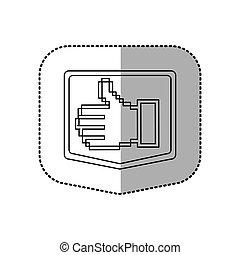 sticker emblem contour of pixel hand showing symbol like