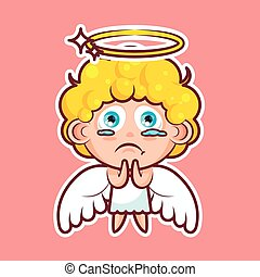 Sticker emoji emoticon, emotion beg, ask, pray, tears in...