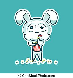 Sticker emoji emoticon emotion watch movie, eat popcorn, vector isolated illustration character sweet, cute white rabbit, bunny, hare, coney, cony, lapin for happy Easter