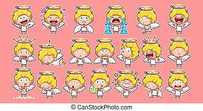 Sticker emoji emoticon - Set kit collection sticker emoji...