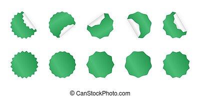 sticker., ensemble, badges., starburst, vert, vide, sunburst