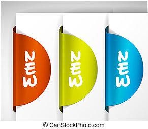 sticker, /, etiket, artikel, nieuw, ronde