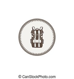 sticker., extérieur, design., camping, vendange, sac à dos, isolé, pièce, vecteur, aventure, fond, icône, dessiné, icon., main, blanc, stockage