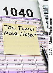 sticker., feuille, calculatrice, impôt forme, diffusion, stylo, 1040