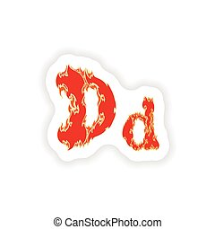 sticker fiery font red letter D on white background