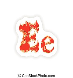 sticker fiery font red letter E on white background