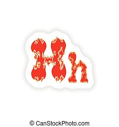sticker fiery font red letter H on white background