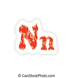 sticker fiery font red letter N on white background