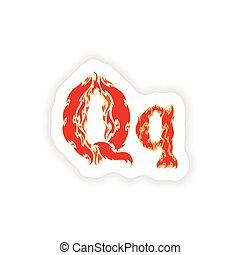 sticker fiery font red letter Q on white background