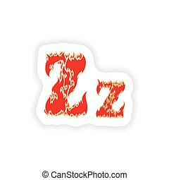 sticker fiery font red letter Z on white background