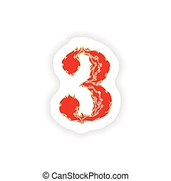 sticker fiery font red number 3 on white background