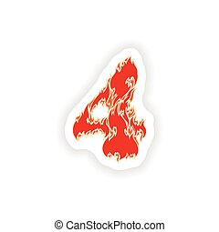 sticker fiery font red number 4 on white background