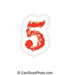 sticker fiery font red number 5 on white background