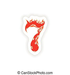 sticker fiery font red number 7 on white background