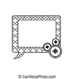 sticker figures square chat bubbles icon
