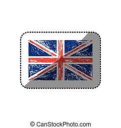 sticker flag united kingdom with grunge texture
