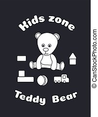 Sticker for the design of the kids zone. Teddy bear and toys, cubes, ball, auto. Suitable for a logo toy shop, a design cut plotter, decor glass. Black and white vector illustration