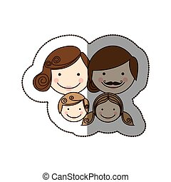 sticker front view colorful silhouette cartoon family faces