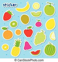 Sticker Fruit Cute Cartoon Vector