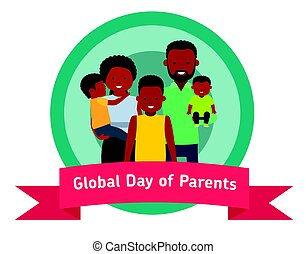 sticker., globaal, of, ouders, spandoek, kinderen, dag, vrolijke