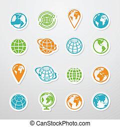 Sticker Globe Icons