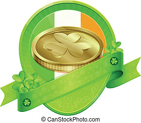 Sticker Gold Coin St Patrick's Day