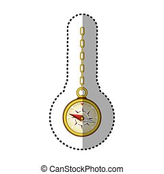 sticker golden compass hanging from a gold link chain
