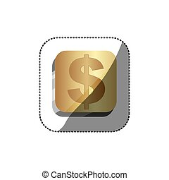 sticker golden square 3d button with dollar symbol