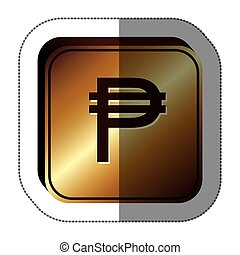 sticker golden square with currency symbol of philippine