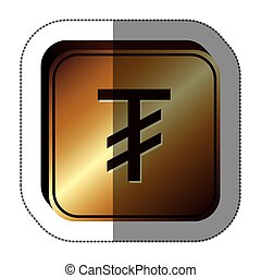 sticker golden square with currency symbol of tugrik mongol