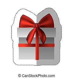 sticker gray gift box with red ribbon