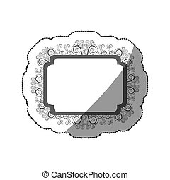 sticker gray scale curved rectangle vintage baroque frame
