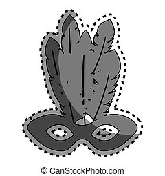 sticker gray silhouette mardi gras mask with feathers
