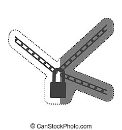 sticker gray silhouette padlock and metal chains icon