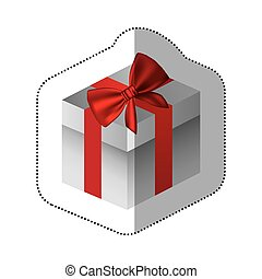 sticker gray square gift box with red ribbon