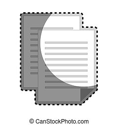 sticker grayscale silhouette with document file