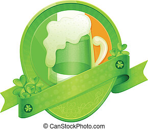 Sticker Green Beer St Patrick's Day