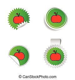 sticker green color with red apple vector