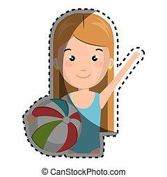 sticker half body cartoon blond girl with summer swimsuit and ball