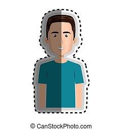 sticker half body cartoon man with hairstyle