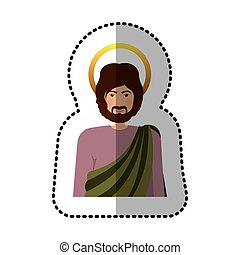 sticker half body colorful figure human of saint joseph