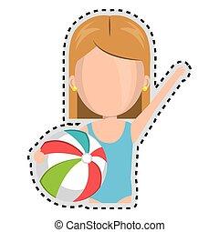 sticker half body faceless cartoon blond girl with summer swimsuit and ball