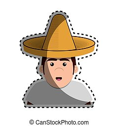 sticker half body man mexican with hat