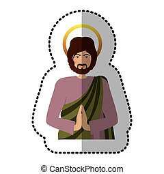 sticker half body picture saint joseph praying