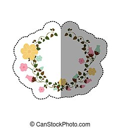 sticker half ornament creepers with flowers