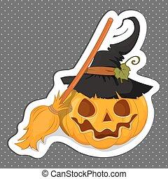Sticker Halloween for your design. Flat design. The Symbols Of Halloween.