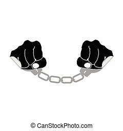 sticker handcuffs vector