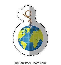 sticker hanging rope with metal hook and earth world map