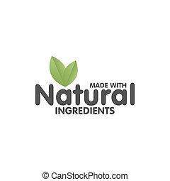 sticker., hecho, natural, ingredientes, eco, ilustración, ...